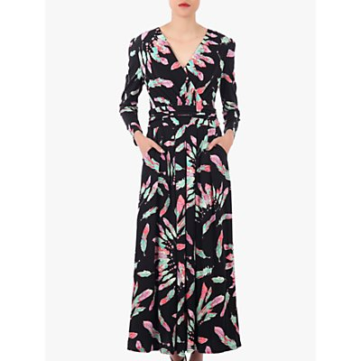 Jolie Moi Feather Print Cross Over Maxi Dress, Black/Multi