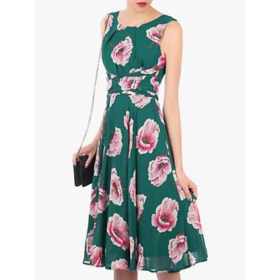 Jolie Moi Floral Print Midi Dress, Teal Floral