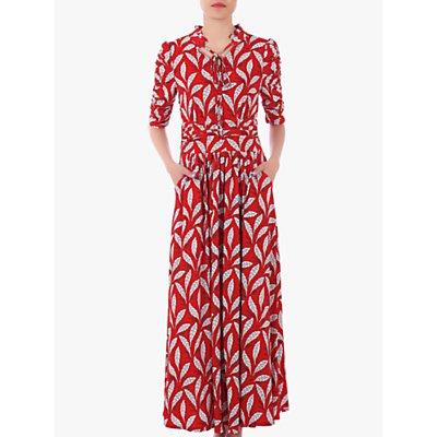 Jolie Moi Feather Print Tie Neck Maxi Dress