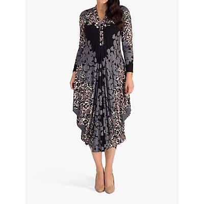 chesca Floral Jersey Midi Dress, Grey/Mocha