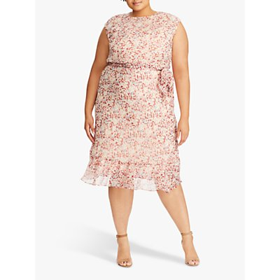 Lauren Ralph Lauren Curve Alastair Floral Print Dress, Dark Raspberry