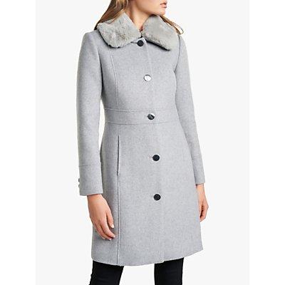 Forever New Belinda Dolly Faux Fur Collar Coat, Grey Marl