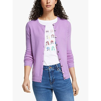 Boden Cashmere Crew Neck Cardigan, Lupin