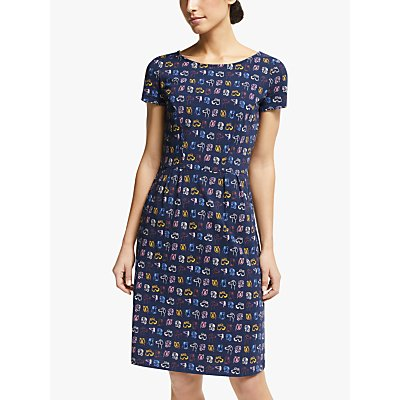 Boden Phoebe Cotton Dog Print Jersey Dress, French Navy/Rufus