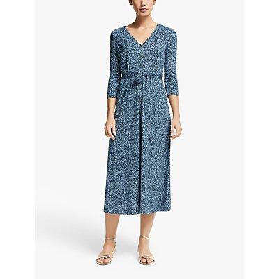 Boden Fleur Animal Print Jersey Midi Dress, Sky Blue Animal