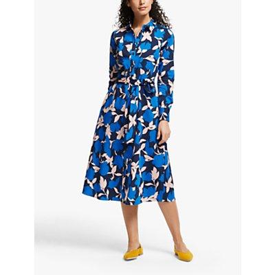 Boden Isodora Cotton Floral Print Shirt Dress, Bold Blue/Clematis