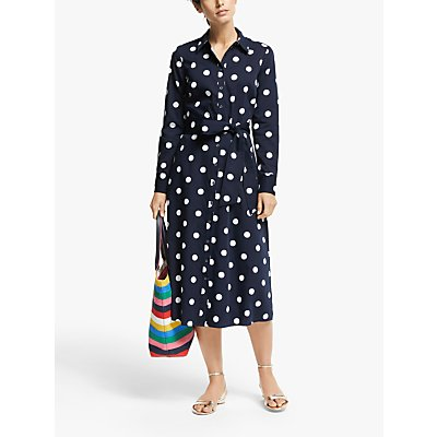 Boden Isodora Cotton Spot Print Shirt Dress, Navy/Graphic Spot