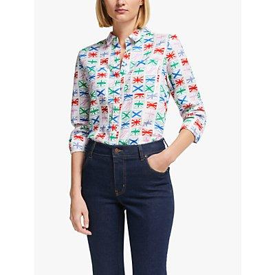Boden Linen Shirt, Ivory/Flags