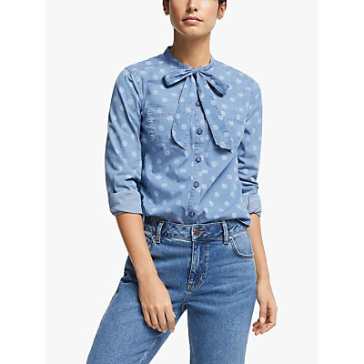 Boden Keira Bow Neck Shirt, Chambray/Brand Dot