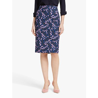 Boden Kensington Floral Pencil Skirt, Blue