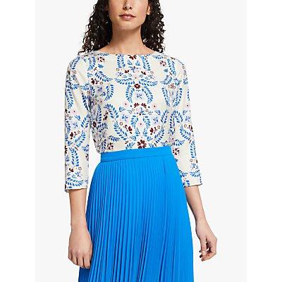 Boden Nadine Silk Blend Floral Top, Ivory/Bold Blue
