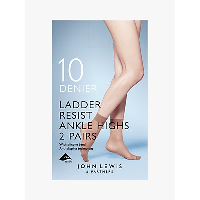 John Lewis & Partners 10 Denier Ankle Socks, Pack of 2