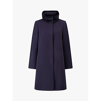Four Seasons Fly Front Faux Fur Collar Coat