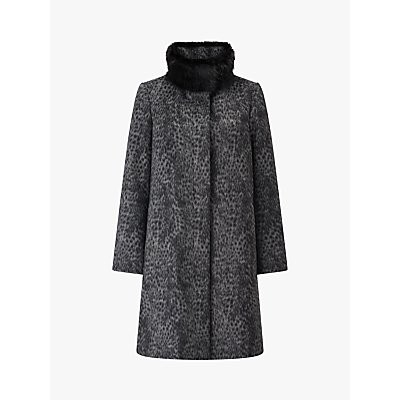 Four Seasons Leopard Print Fly Front Faux Fur Collar Coat, Grey