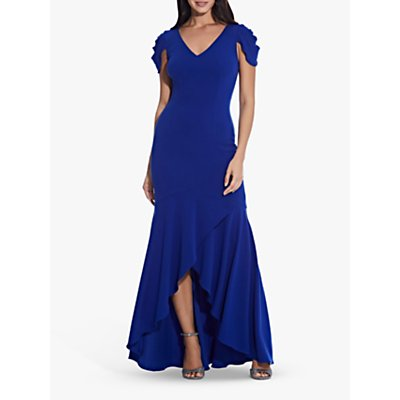 Adrianna Papell Mermaid Crepe Maxi Dress, Royal Sapphire