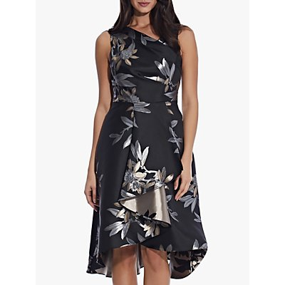 Adrianna Papell Floral Jacquard Dress, Black/Multi
