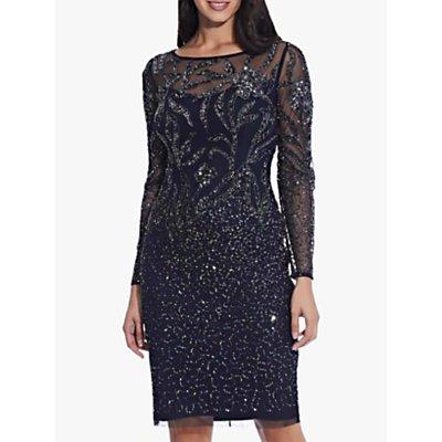 Adrianna Papell Beaded Cocktail Dress, Midnight