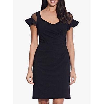 Adrianna Papell Semi Sheer Sleeve Dress, Black