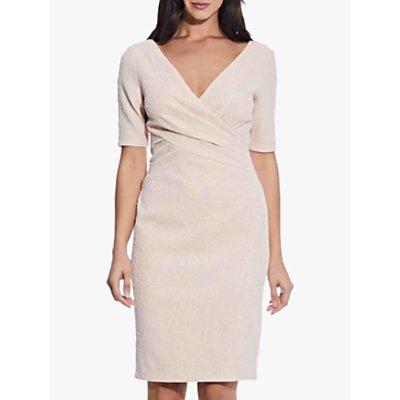 Adrianna Papell Draped Jacquard Dress, Ivory