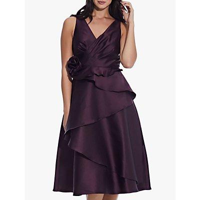 Adrianna Papell Mikado Rosette Tiered Midi Dress, Pinot Noir