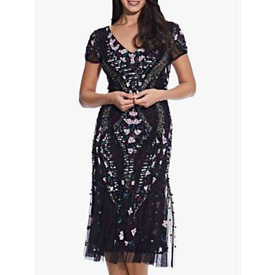 Adrianna Papell Beaded Flounce Dress, Black/Purple