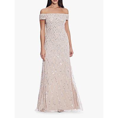 Adrianna Papell Bardot Beaded Dress, Shell