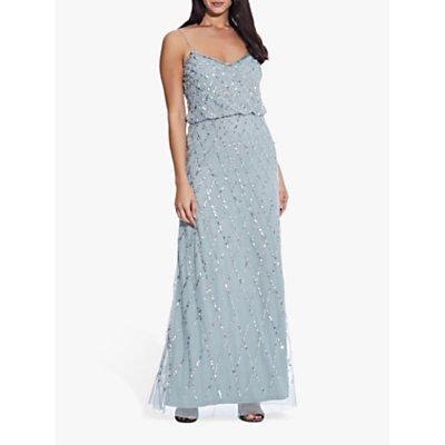 Adrianna Papell Blouson Beaded Maxi Dress, Azure Mist