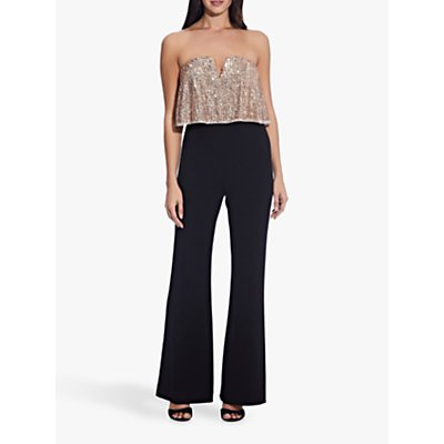 Adrianna Papell Petite Sequin Jumpsuit, Black/Rose Gold