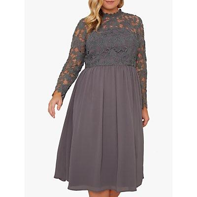 Chi Chi London Curve Zela Lace Midi Dress, Charcoal