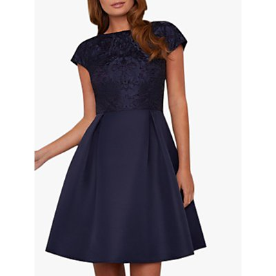 Chi Chi London Bowa Jacquard Bodice Dress, Navy