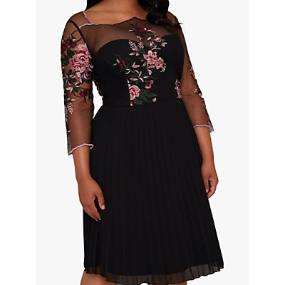 Chi Chi London Curve Adalee Dress, Black/Multi