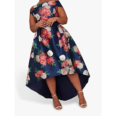 Chi Chi London Curve Kerris High Low Floral Dress, Navy