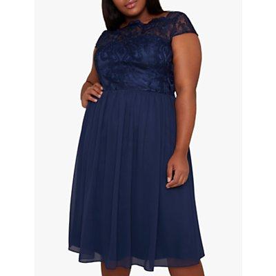 Chi Chi London Curve Lilou Lace Dress, Navy