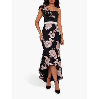 Chi Chi London Neelam Floral Embroidery Fishtail Hem Maxi Dress, Black/Blush
