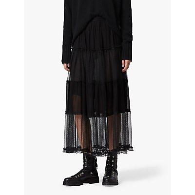 AllSaints Renia Polka Dot Mesh Tiered Midi Skirt, Black