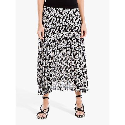Max Studio Floral Print Pleated Skirt, Black/Blue