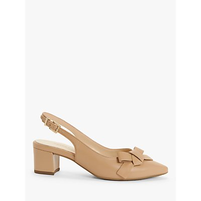 Peter Kaiser Shania Leather Bow Slingback Court Shoes, Biscotti