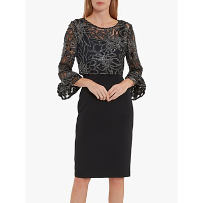 Gina Bacconi Liara Embroidered Overtop Dress, Black