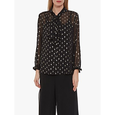 Gina Bacconi Ismene Foil Detail Tie Neck Sheer Blouse, Black/Gold
