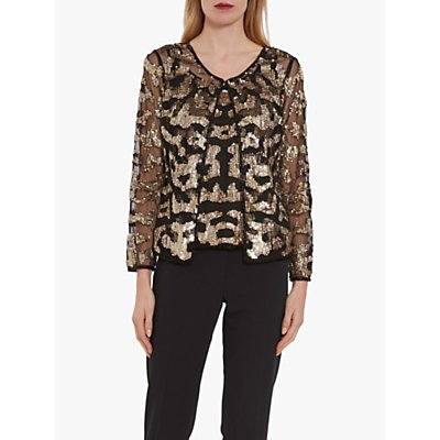 Gina Bacconi Everita Beaded Blouse, Black/Gold