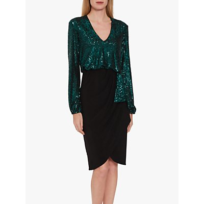 Gina Bacconi Anara Sequin Jersey Dress, Dark Green