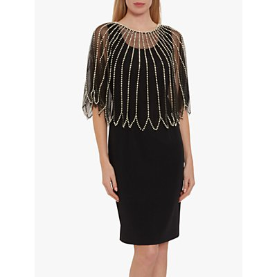 Gina Bacconi Dinah Pearl Cape Dress, Black
