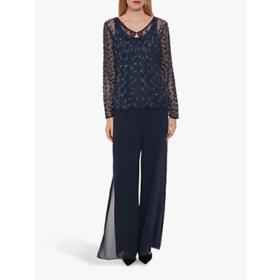 Gina Bacconi Evona Beaded Top and Jacket, Navy