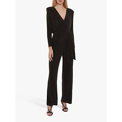 Gina Bacconi Peggy Metallic Jumpsuit, Black/Bronze