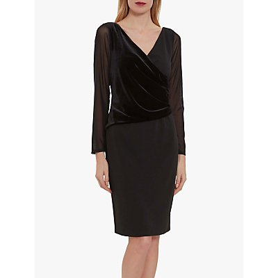 Gina Bacconi Kettra Crepe Velvet Dress, Black
