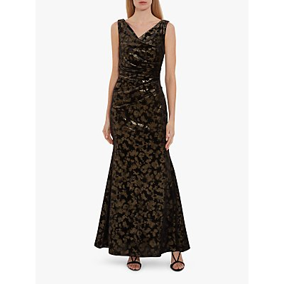 Gina Bacconi Devin Metallic Velvet Maxi Dress