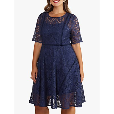 Yumi Curves Lace Flared Dress, Navy