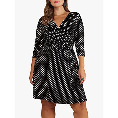 Yumi Curves Jersey Spot Wrap Dress, Black