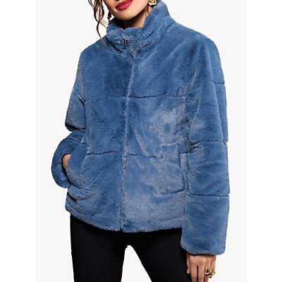 Yumi Faux Fur Funnel Neck Jacket, Blue