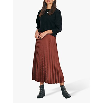 hush Nia Pleated Midi Skirt, Copper